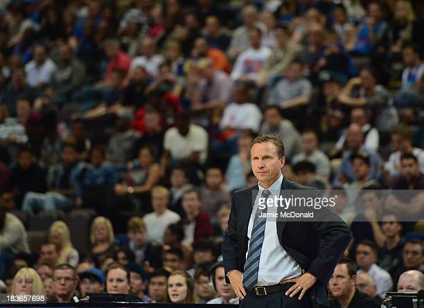 Scott Brooks of the Oklahoma City Thunder looks on during the NBA pre season match between Oklahoma City Thunder and Philadelphia 76ers at Phones 4 U...