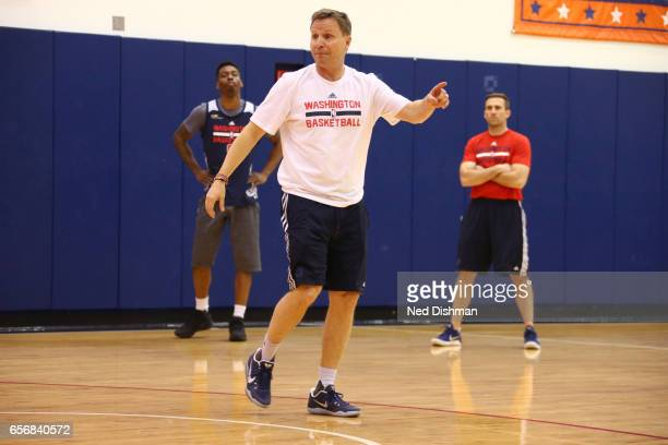 Scott Brooks of the Washington Wizards coaches during an allaccess practice at the Washington Wizards practice Facility on March 17 2017 in...