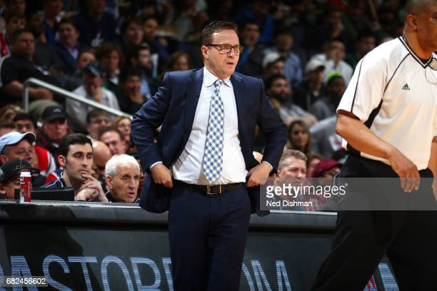 Scott Brooks of the Washington Wizards looks on during the game against the Boston Celtics during Game Six of the Eastern Conference Semifinals of...