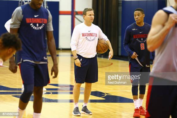 Scott Brooks of the Washington Wizards participates in an open practice for military veterans on November 10 2017 in Washington DC NOTE TO USER User...