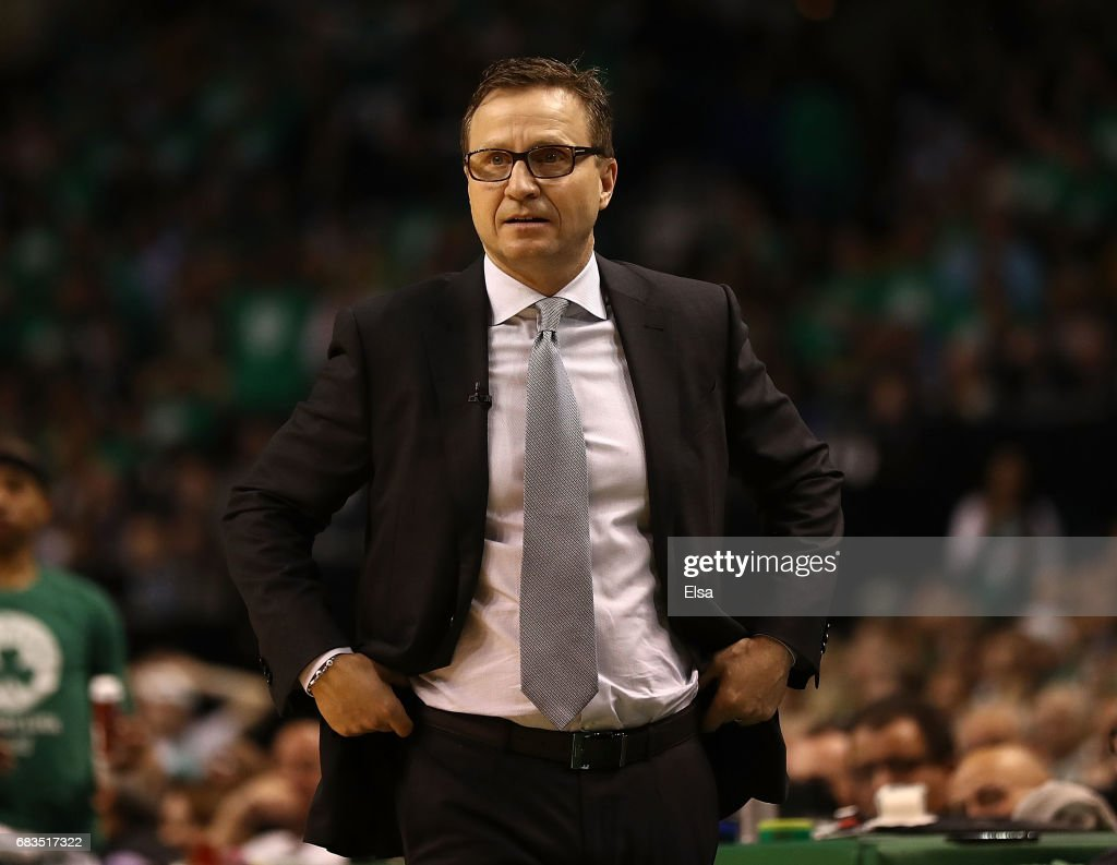Scott Brooks of the Washington Wizards reacts against the Boston Celtics during Game Seven of the NBA Eastern Conference Semi-Finals at TD Garden on May 15, 2017 in Boston, Massachusetts.