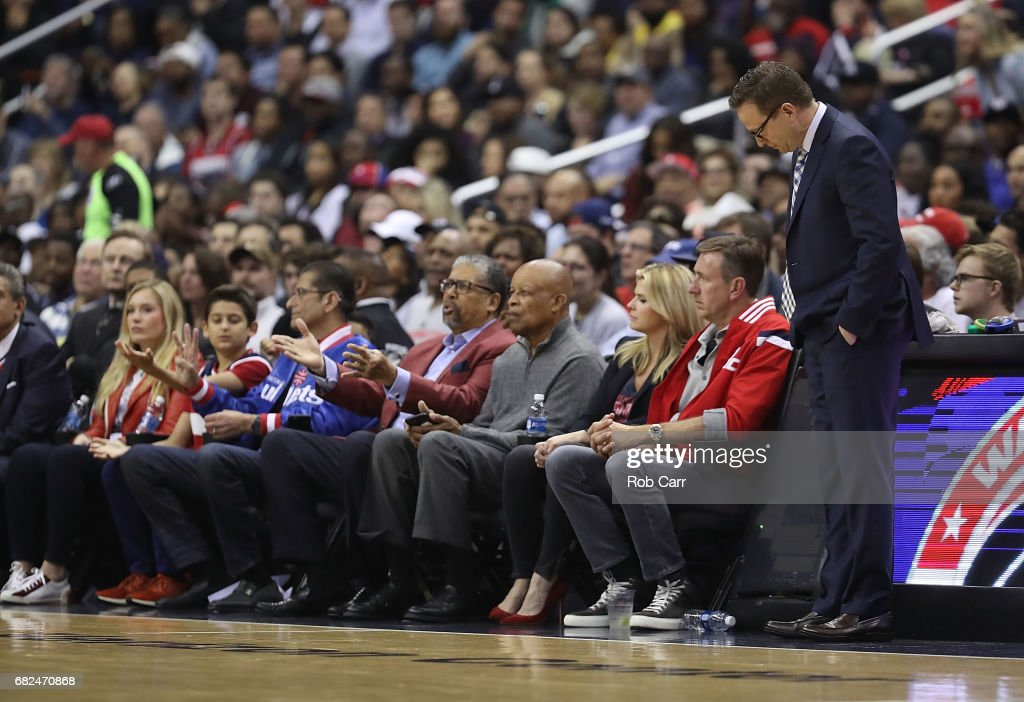 Scott Brooks of the Washington Wizards reacts to a call against the Boston Celtics during Game Six of the NBA Eastern Conference Semi-Finals at Verizon Center on May 12, 2017 in Washington, DC.