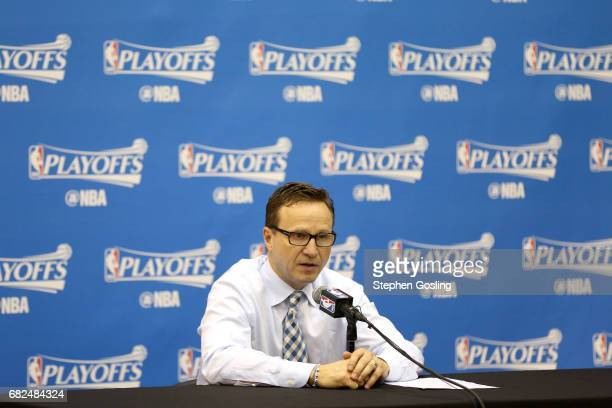 Scott Brooks of the Washington Wizards talks with the press after the game against the Boston Celtics during Game Six of the Eastern Conference...