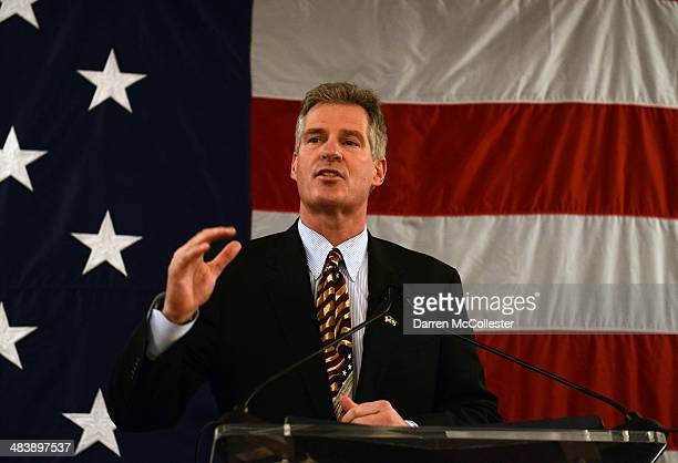 Scott Brown formally announces his candidacy for US Senate April 10 2014 at Sheraton Portsmouth Harborside Hotel in Portsmouth New Hampshire Brown a...