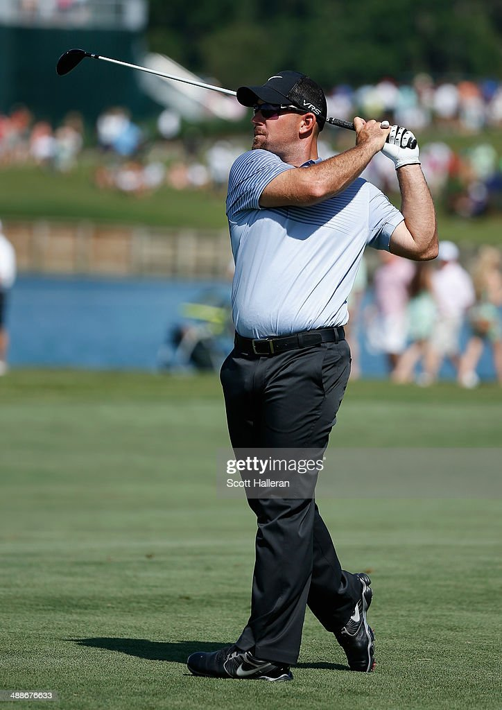 Scott Brown hits a shot during a practice round ahead of THE PLAYERS Championship on The Stadium Course at TPC Sawgrass on May 7, 2014 in Ponte Vedra Beach, Florida.