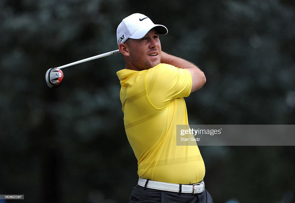 Scott Brown hits a tee shot on the 14th hole during the practice round for the Colombia Championship at Country Club de Bogota on February 27, 2013 in Bogota, Colombia.