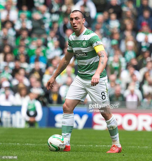 Scott Brown in action for Celtic at the Scottish Premiership Match between Celtic and Inverness Caley Thistle at Celtic Park on May 24 2015 in...