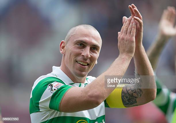 Scott Brown of Celtic applauded the Celtic Supporters at the end of the match during the Ladbrokes Scottish Premiership match between Hearts and...