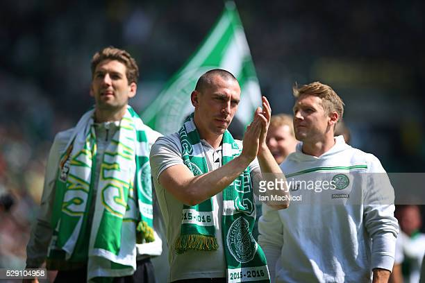 Scott Brown of Celtic celebrate at the end of the match during the Ladbrokes Scottish Premier League match between Celtic and Aberdeen at Celtic Park...