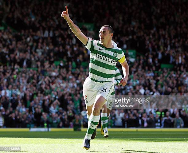 Scott Brown of Celtic celebrates his goal during the Clydesdale Bank Scottish Premier League match between Celtic and Hibernian at Celtic Park on...