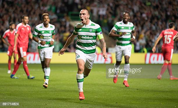 Scott Brown of Celtic celebrates his goal during the UEFA Champions League Qualifying PlayOff 1st Leg between Celtic and Hapoel Be'er Sheva at Celtic...