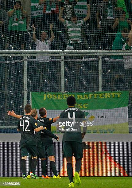 Scott Brown of Celtic celebrates scoring a goal during the UEFA Europa League match between Salzburg and Celtic September 18 2014 in Salzburg Austria
