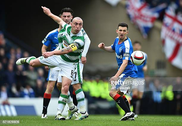 Scott Brown of Celtic clears the ball during the William Hill Scottish Cup semi final between Rangers and Celtic at Hampden Park on April 17 2016 in...