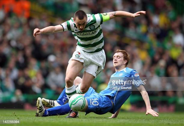 Scott Brown of Celtic in action against Liam Craig of St Johnstone during the Scottish Clydesdale Bank Scottish Premier League match between Celtic...