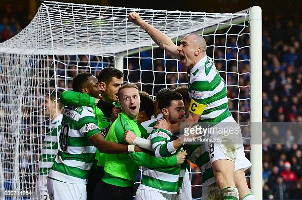 Scott Brown of Celtic joins players' celebration after their team's second goal scored by Scott Sinclair during the Ladbrokes Scottish Premiership...