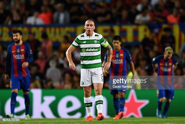 Scott Brown of Celtic looks dejected during the UEFA Champions League Group C match between FC Barcelona and Celtic FC at Camp Nou on September 13...