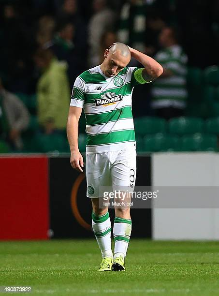 Scott Brown of Celtic reacts at full time during the UEFA Europa League match between Celtic FC and Fenerbahce SK at Celtic Park on October 01 2015...