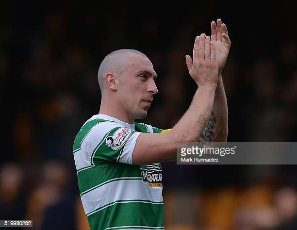 Scott Brown of Celtic reacts at the final whistle as Celtic beat Motherwell 21 to move 8 points clear at the top of the Ladbrokes Scottish...