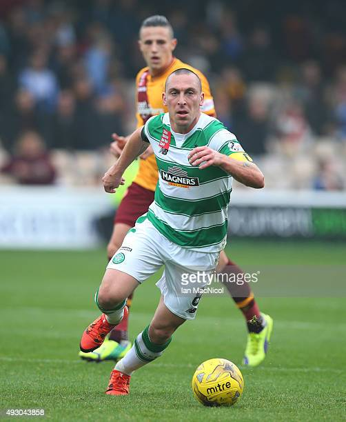 Scott Brown of Celtic runs with the ball during the Ladbrokes Scottish Premiership match between Motherwell and Celtic at Fir Park on October 17 2015...