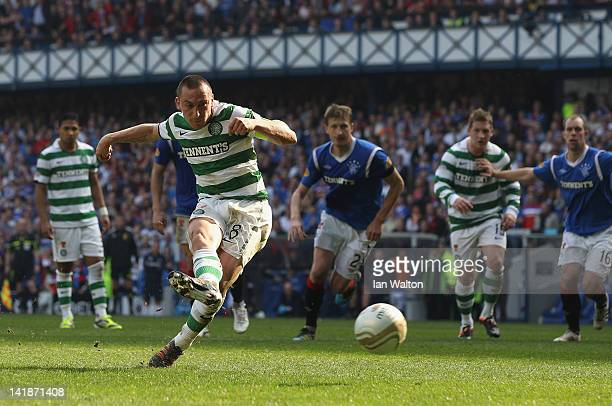 Scott Brown of Celtic scores a penalty during the Clydesdale Bank Scottish Premier League match between Rangers and Celtic at Ibrox Stadium on March...