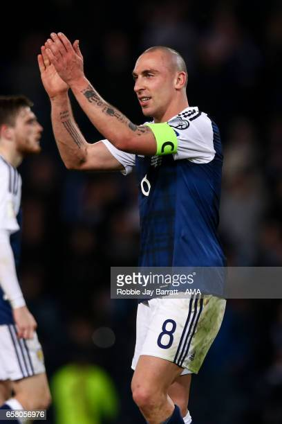 Scott Brown of Scotland applauds the fans at full time during the FIFA 2018 World Cup Qualifier between Scotland and Slovenia at Hampden Park on...