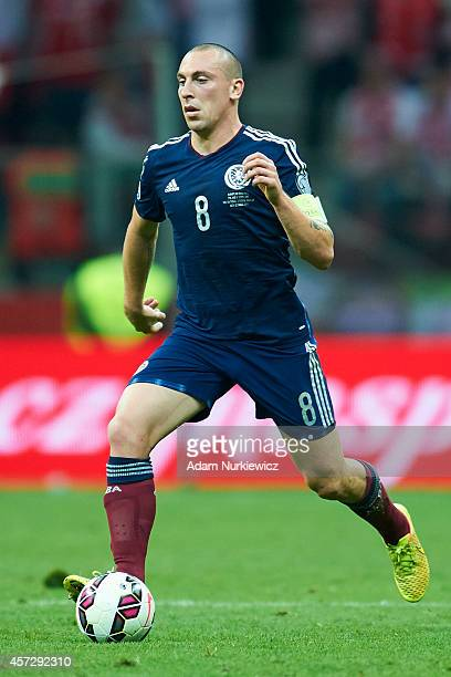 Scott Brown of Scotland controls the ball during the UEFA EURO 2016 qualifying match between Poland and Scotland on October 14 2014 on the National...