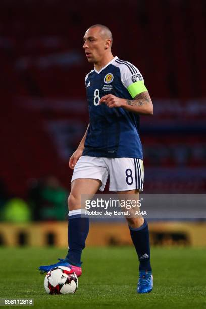 Scott Brown of Scotland during the FIFA 2018 World Cup Qualifier between Scotland and Slovenia at Hampden Park on March 26 2017 in Glasgow Scotland