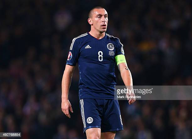 Scott Brown of Scotland in action during the EURO 2016 Qualifier between Scotland and Poland at Hamden Park on October 8 2015 in Glasgow Scotland