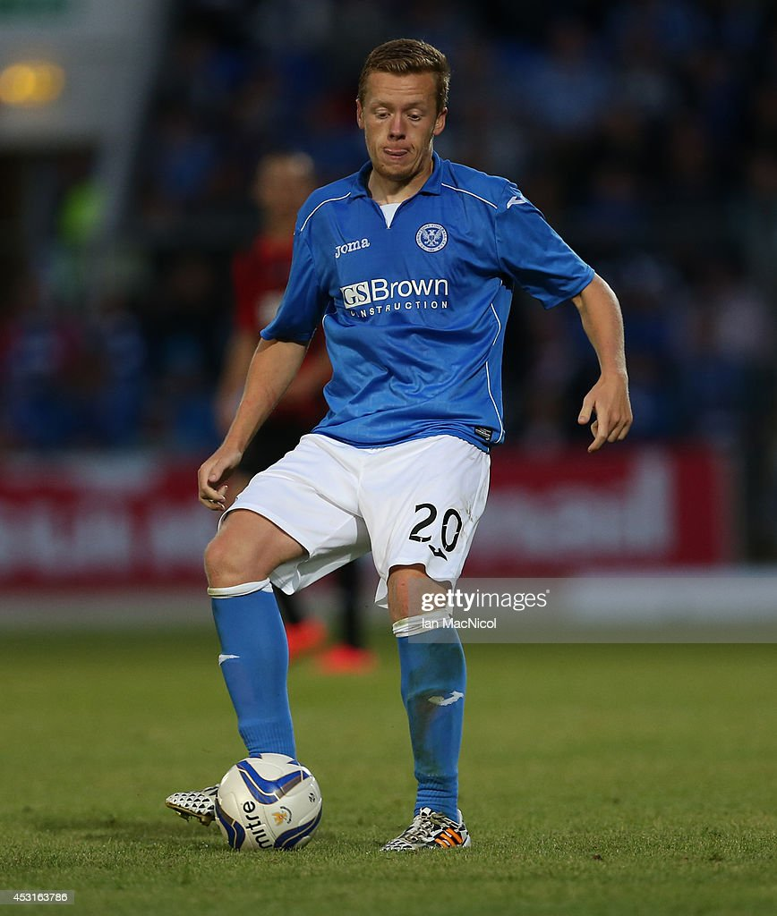 Scott Brown of St Johnstone controls the ball during the UEFA Europa League Third Qualifying Round, First Leg match between St Johnstone and Spartak Trnava, at McDiarmid Park on July 31, 2014 Perth, Scotland.