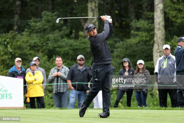 Scott Brown of the United States hits from the 8th tee during the third round of the Dell Technologies Championship on September 3 at TPC Boston in...