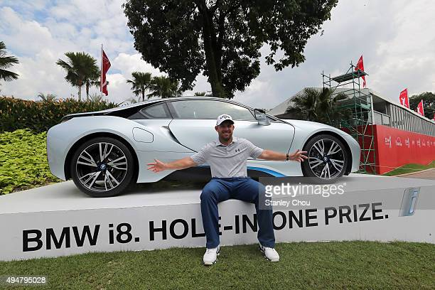 Scott Brown of USA wins a hole in one prize at the 15th hole during round one of the CIMB Classic at Kuala Lumpur Golf Country Club on October 29...
