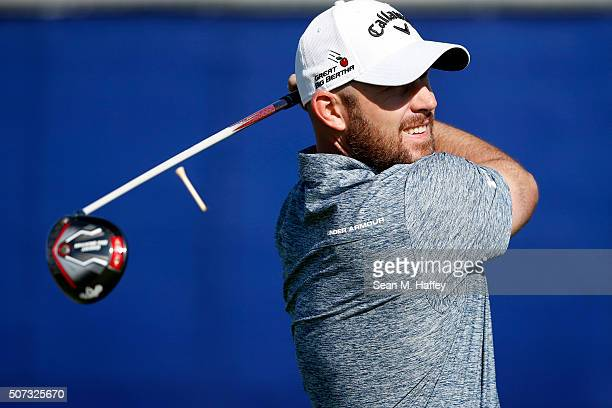 Scott Brown tees off on the 9th hole during Round 1 of the Farmers Insurance Open at Torrey Pines South on January 28 2016 in San Diego California