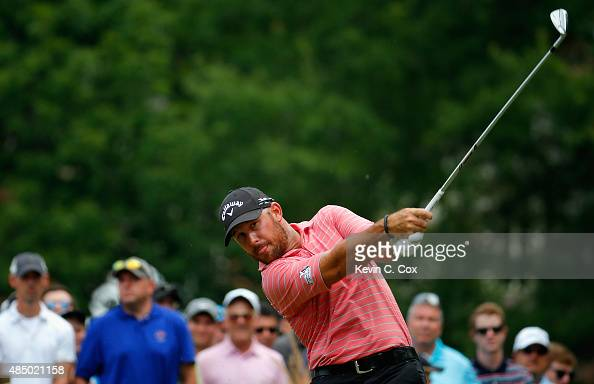 Scott Brown tees off on the third hole during the final round of the Wyndham Championship at Sedgefield Country Club on August 23 2015 in Greensboro...