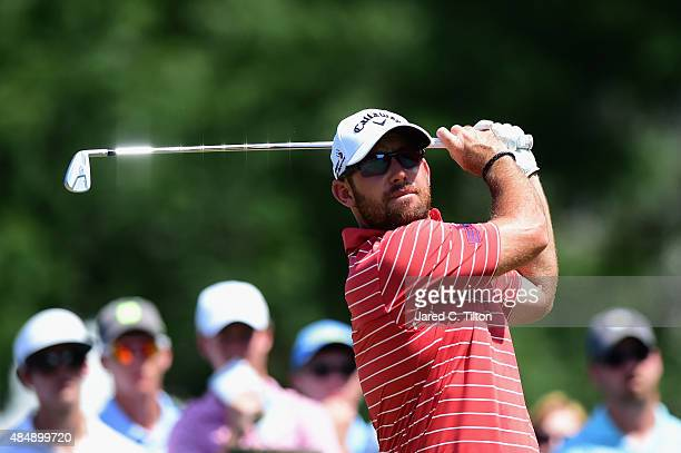 Scott Brown tees off on the third hole during the third round of the Wyndham Championship at Sedgefield Country Club on August 22 2015 in Greensboro...
