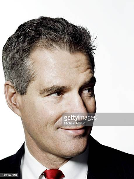 Scott Brown United States Senator from Massachusetts poses for a portrait session in his office in Washington DC for The New York Times Magazine...