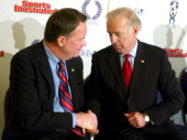 Scott Burns Deputy Director White House Office of National Drug Control Policy left and Sen Joe Biden right Wednesday Feb8 2006 in Washington at the...