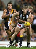 Scott Burns of the Magpies in action during the round seven AFL match between the West Coast Eagles and the Collingwood Magpies at Subiaco Oval May...