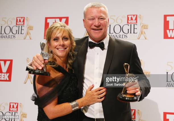 Scott Cam poses with his wife Ann in the awards room after winning the Gold Logie for Most Popular Personality on Television at the 2014 Logie Awards...