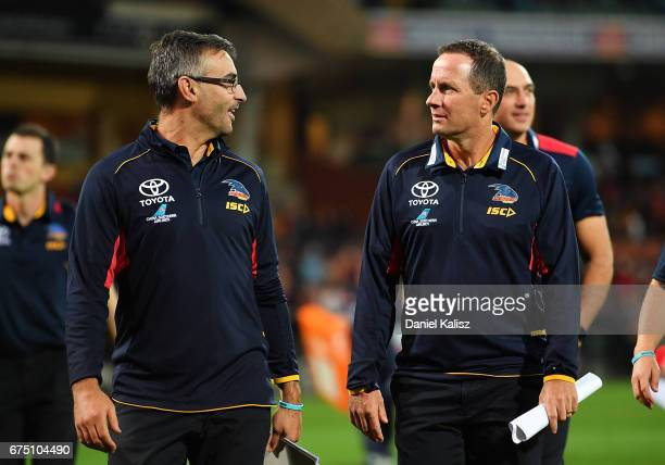 Scott Camporeale Adelaide Crows Assistant Coach chats with Adelaide Crows Senior Coach Don Pyke after the round six AFL match between the Adelaide...