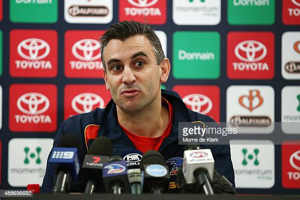 Scott Camporeale of the Crows speaks to media during a press conference after an Adelaide Crows AFL training session at AAMI Stadium on September 17...