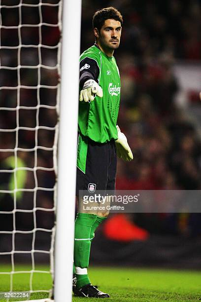 Scott Carson of Liverpool in action during the UEFA Champions League Quarter final first leg match between Liverpool and Juventus held at Anfield on...