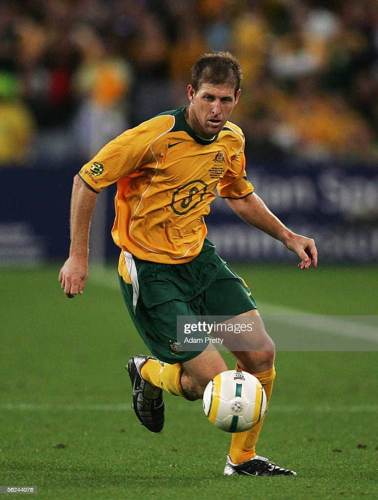 Scott Chipperfield of the Socceroos in action during the second leg of the 2006 FIFA World Cup qualifying match between Australia and Uruguay at Telstra Stadium November 16, 2005 in Sydney, Australia.