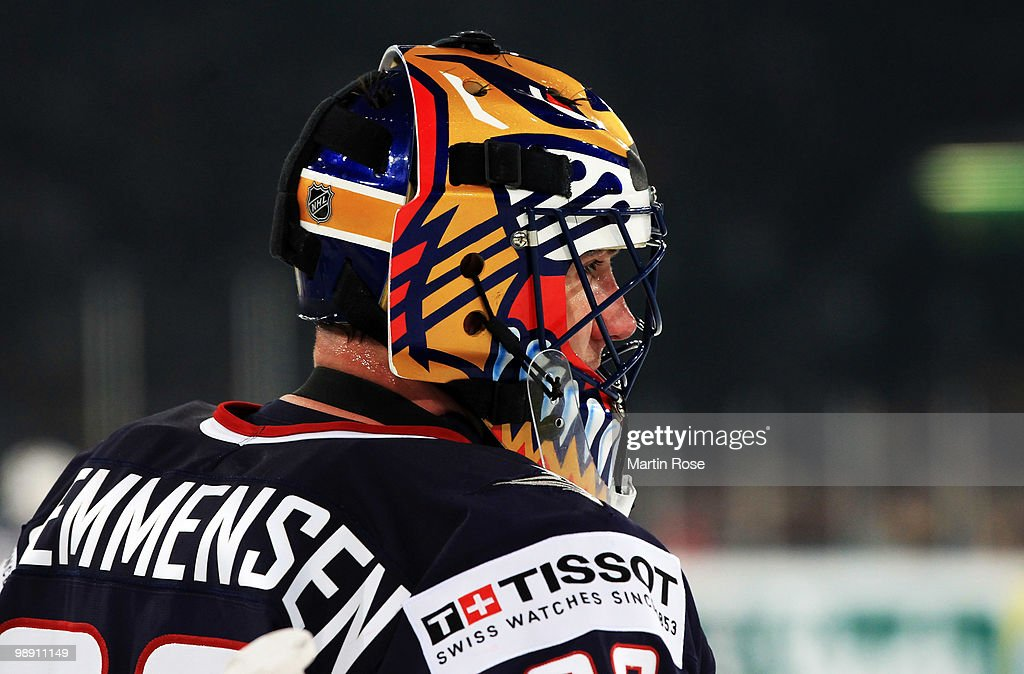 Scott Clemmensen goalkeeper of USA looks dejected during the IIHF World Championship group D match between USA and Germany at Veltins Arena on May 7...