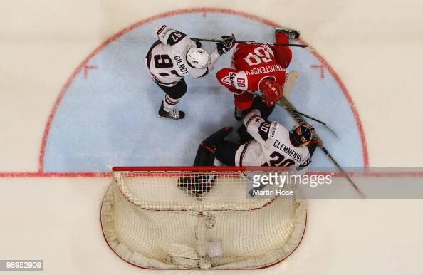 Scott Clemmensen goalkeeper of USA saves the shot of Mads Christensen of Denmark during the IIHF World Championship group A match between USA and...