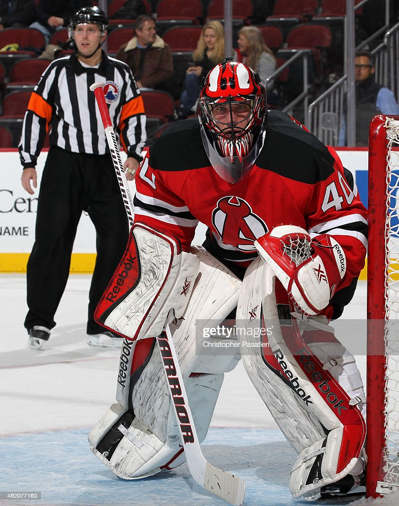 Scott Clemmensen of Albany Devils looks on as he tends goal during the first period of an American Hockey League game against the Bridgeport Sound...
