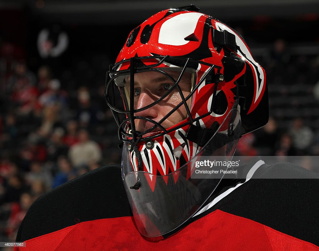 Scott Clemmensen of Albany Devils looks on during the first period of an American Hockey League game against the Bridgeport Sound Tigers at the...