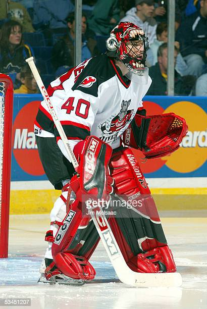 Scott Clemmensen of the Albany River Rats tends goal against the Bridgeport Sound Tigers during the game on October 16 2004 at the Arena at Harbor...