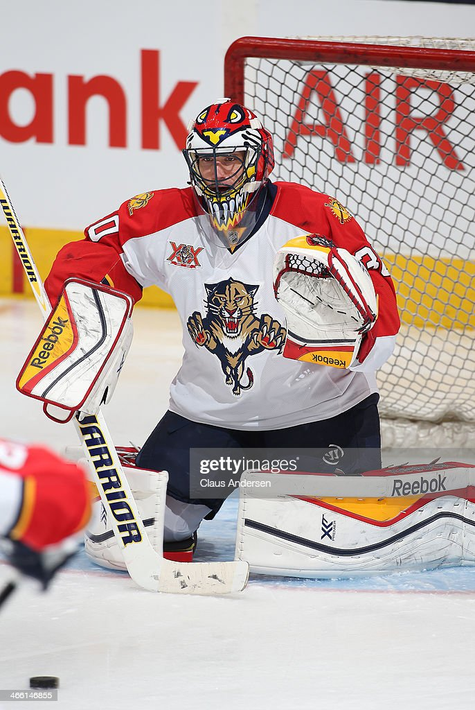 Scott Clemmensen of the Florida Panthers faces a shot in the warmup prior to playing in an NHL game against the Toronto Maple Leafs at the Air Canada...