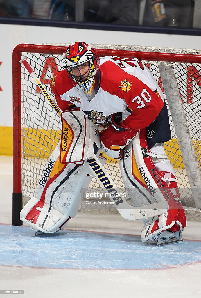 Scott Clemmensen of the Florida Panthers gets set to face a shot in the warmup prior to playing in an NHL game against the Toronto Maple Leafs at the...