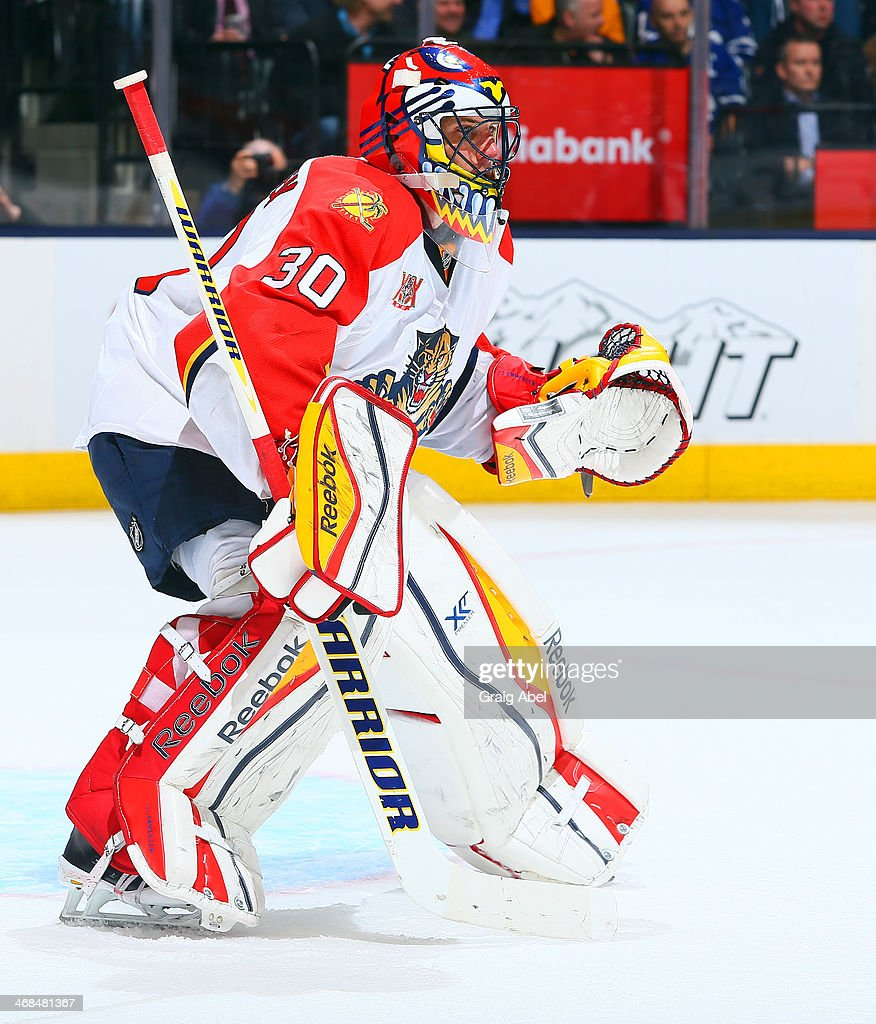 Scott Clemmensen of the Florida Panthers guards the net during NHL game action against the Toronto Maple Leafs January 30 2014 at the Air Canada...